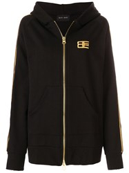 Baja East Embroidered Zip Hoodie Cotton Black