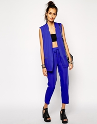 Eleven Paris Crepe Trouser In Cobalt Multi