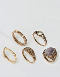 Asos Limited Edition Pack Of 5 Big Stone Rings Purple Ant Gold Silver
