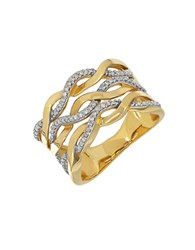 Lord And Taylor Diamond 14K Yellow Gold Wave Ring