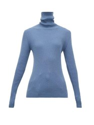 Hillier Bartley Ribbed Roll Neck Cashmere Sweater Blue