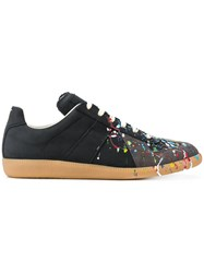 Maison Martin Margiela Replica Paint Splatter Sneakers Calf Leather Leather Nylon Rubber Black