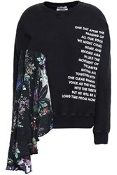 Each X Other Draped Silk Paneled Embroidered French Cotton Terry Sweatshirt Black