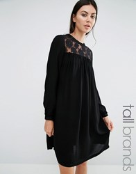 Brave Soul Tall Dress With Lace Insert Black