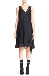 Women's Vetements Asymmetrical Lace Hem Slipdress