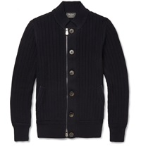Berluti Cotton And Cashmere Blend Cardigan Blue