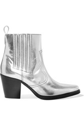 Ganni Callie Metallic Leather Ankle Boots Silver