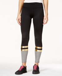 Energie Active Juniors' Claire Striped Colorblocked Leggings Caviar Gold