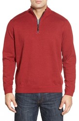 Tommy Bahama Men's Flip Side Reversible Quarter Zip Twill Pullover Ruby Red Heather