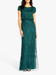 Adrianna Papell Blouson Beaded Gown Dusty Emerald