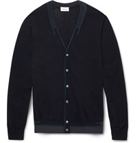 Brioni Slim Fit Wool Silk And Cashmere Blend Cardigan Navy
