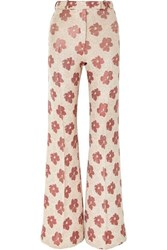 Golden Goose Deluxe Brand Carrie Floral Jacquard Wide Leg Pants White