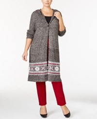 Styleandco. Style Co. Plus Size Hooded Border Pattern Duster Cardigan Only At Macy's Grey Combo