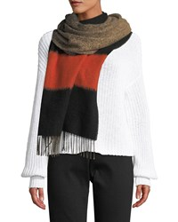 Eileen Fisher Bold Striped Degrade Wool Scarf Hot Red