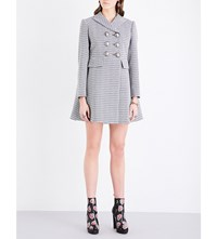 Alexander Mcqueen Double Breasted Tweed Coat Blue Blk