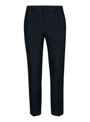 Topman Blue Navy Crepe Textured Skinny Fit Cropped Suit Trousers