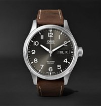 Oris Big Crown Propilot Day Date Automatic 45Mm Stainless Steel And Suede Watch Dark Brown