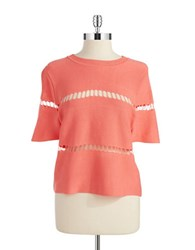 Design Lab Lord And Taylor Laser Cut Accented Crop Top Spring Coral