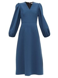 Emilia Wickstead Carmina Balloon Sleeve Wool Crepe Midi Dress Blue