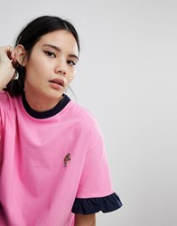 Lazy Oaf Oversized T Shirt With Chicken Drumstick Patch Pink