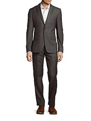 Versace Solid Woolen Suit Grey