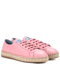 Prada Leather Espadrille Sneakers Pink