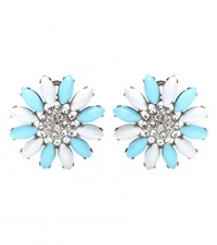 Miu Miu Clip On Earrings With Swarovski Crystals Turquoise