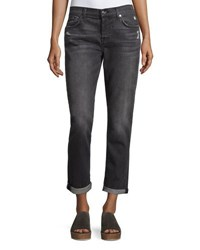 7 For All Mankind Josefina Distressed Boyfriend Jeans Gray