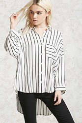 Forever 21 Striped High Low Shirt White Black