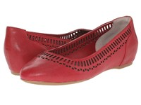 Rockport Total Motion 20Mm Lazer Cutout Ballet Deep Berry Dist Goat Women's Flat Shoes Red