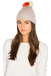 Autumn Cashmere Multicolor Fox Fur Pom Pom Hat Gray