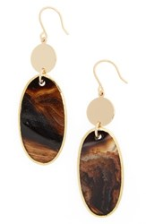 Nordstrom Women's Semiprecious Stone Double Drop Earrings Black Gold