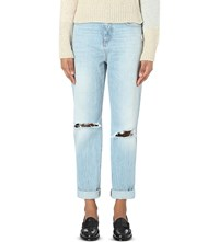 Closed Lil 85 Boyfriend Fit High Rise Jeans Distressed Light Blue