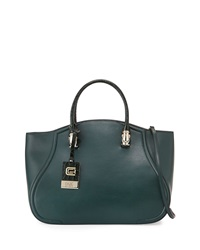Class Roberto Cavalli Daphne Large Leather Tote Bag Dark Green