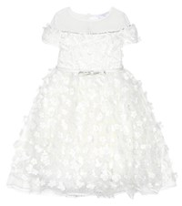 Monnalisa Embroidered Tulle Dress White