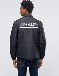 Wood Wood Kael Coach Jacket Unfollow Back Print Padded Black