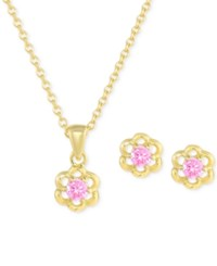 Victoria Townsend Lily Nily Women's Cubic Zirconia Flower Jewelry Set In 18K Gold Over Sterling Silver