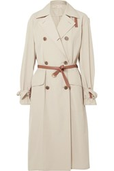 Tory Burch Mariella Belted Leather Trimmed Poplin Trench Coat Beige Gbp