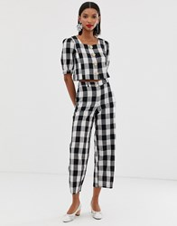 Mango Gingham Trouser Co Ord In Multi