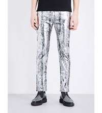 Mcq By Alexander Mcqueen Strummer Coated Slim Fit Tapered Jeans Metallic