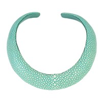 Latelita London Stingray Sculptural Necklace Aqua Green Blue