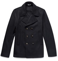 Tomas Maier Double Breasted Wool Blend Felt Peacoat Navy
