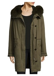 Army By Yves Salomon Fur Trimmed Quilted Parka Hunter Green