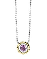 Lagos Sterling Silver And 18K Gold Pendant Necklace With Amethyst 16