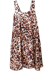 Msgm Graphic Leopard Print Dress Metallic