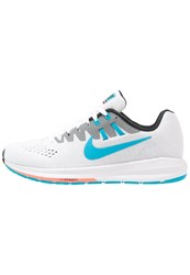 Nike Performance Air Zoom Structure 20 Stabilty Running Shoes White Blue Lagoon Black Hot Lava Wolf Grey