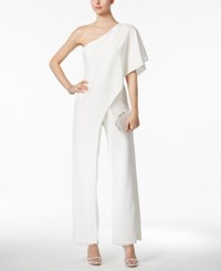 Adrianna Papell Petite Draped One Shoulder Jumpsuit Ivory