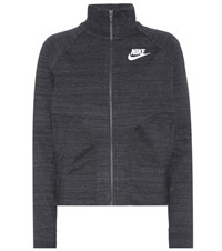 Nike Knitted Cotton Blend Track Jacket Grey