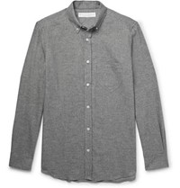 Private White V.C. Button Down Collar Puppytooth Brushed Cotton Shirt Gray
