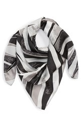 Halogen Print Silk Scarf Black Stained Palm